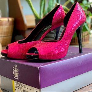 Fergie Metalic Pink Peep Toe Pumps